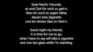Reinhard Mey - Gute Nacht Freunde - Lyrics + Translation