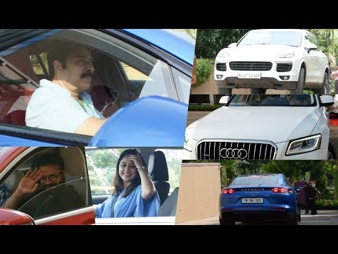 Celebrities With their Super Cars At Amma General Body Meeting , Mammootty , Jayasurya , Miya