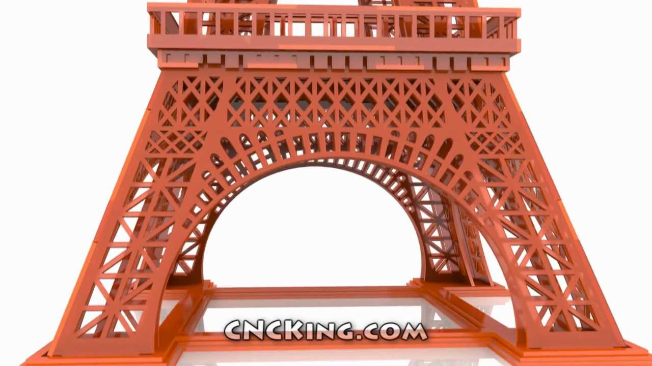 Laser Cut Eiffel Tower: 3D Assembly Animation (1080HD) - YouTube