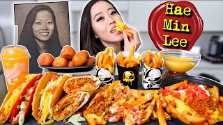 NEW! TACO BELL NACHO FRIES + CHEESE SAUCE MUKBANG 먹방 | Eating Show