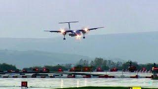 طائرات تتأرجح وسط العاصفة فوق مطار مانشستر