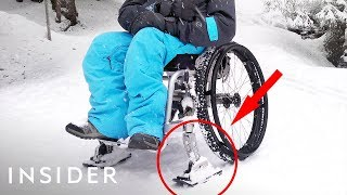 Ski Attachments Make It Easier For Wheelchairs To Travel On Snow