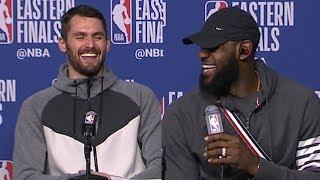 LeBron James & Kevin Love Postgame Interview - Game 2 | Cavaliers vs Celtics | 2018 NBA East Finals