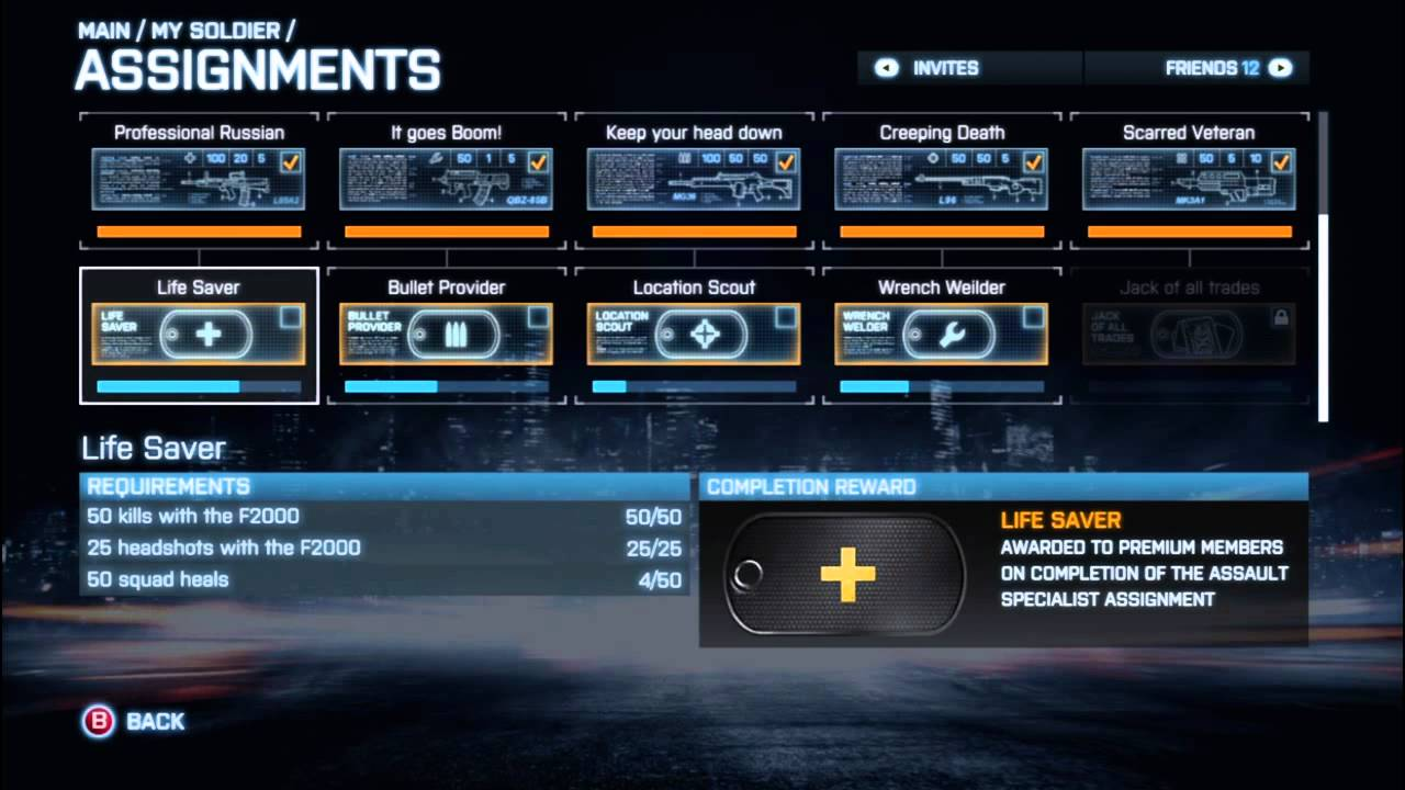 Why can t I see all the assignments on Battlefield 3? - Arqade