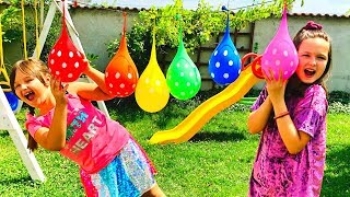Play and Learn Colors with Water Balloons - Colors Song by Kids Lena Emma Show