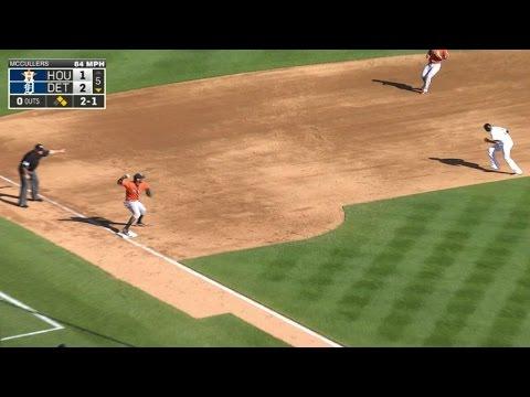 HOU@DET: Astros turn a 5-4-3 triple play