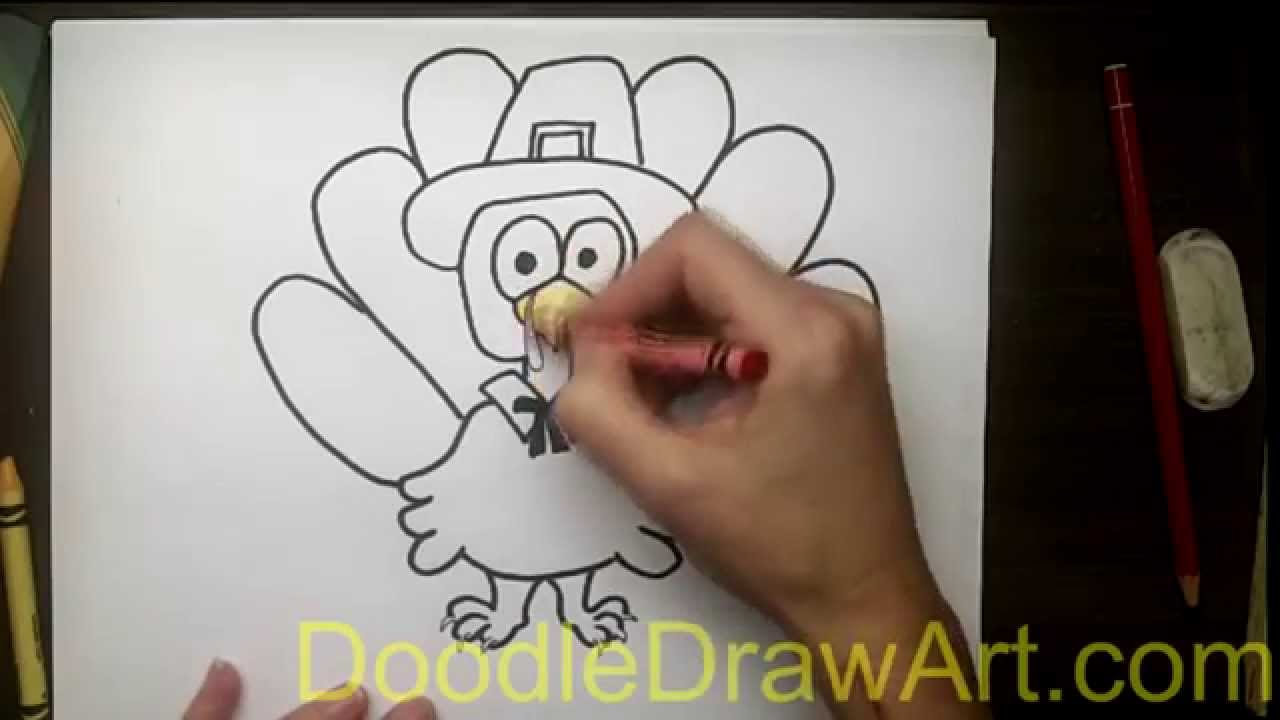 Drawing: How To Draw a Turkey in a Pilgrim Hat - YouTube
