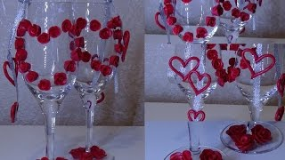 DIY Украшаем бокалы. Полимерная глина.How to decorate the glasses