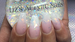 Acrylic Nails | Crystal Chameleon Flakes | Pink And White Ombre