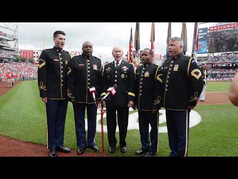 Gen. Dempsey Sings National Anthem at Washington Nationals versus Milwaukee Brewers