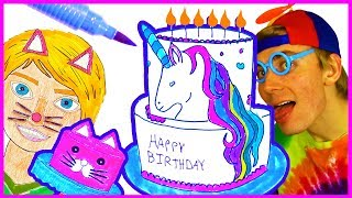 How to Draw Cake Coloring Pages - Unicorn Cake, Mermaid Cake, Rainbow Birthday Cake My Bakery Empire