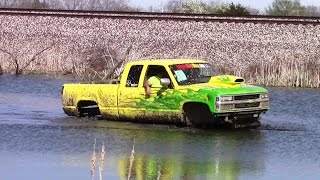 Big Yellow Chevy In The Pond At Run What Ya Brung Indiana May 2015 View 2