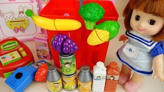 Baby doll shopping cart mart food toys baby Doli play
