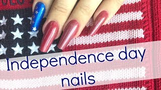 How to: magnet stripes & stickers   Independence day easy nail design for beginners