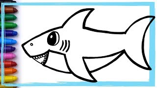Baby Shark Song Drawing and Coloring Pages Learn Colors | Whoopee Playhouse