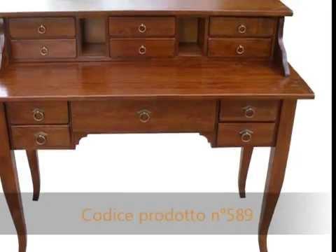 Scrittoio scrivania classica con alzatina in stile antico arte povera artigianale su misura