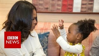 Michelle Obama dances with Parker the portrait girl - BBC News