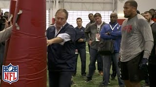 Bill Belichick Coaches Bradley Chubb at NC State Pro Day | NFL Highlights
