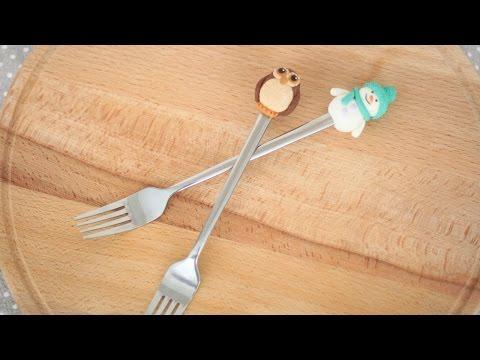 Снеговик и сова из полимерной глины. Декор десертной вилки, ложки