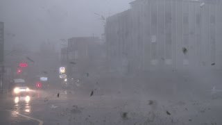 Powerful Eyewall Wind, Flying Debris, Flood Water Release - 4K Stock Footage Screener Typhoon Dujuan