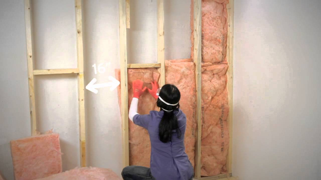 How to insulate exposed basement walls youtube for Basement wall insulation blanket