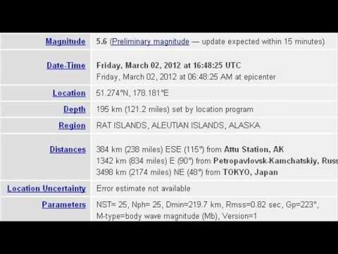 MAR 2 2012 5.6 EARTHQUAKE RAT ISLANDS, ALEUTIAN ISLANDS, ALASKA