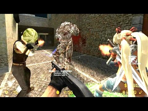 Counter Strike Source - Zombie Riot Mod Dark Kahn zombie boss fight online gameplay on italy Map