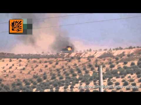 FSA Anti tank TOW Missile vs Bulldozer   Lucky Driver Escapes Death   Syrian War