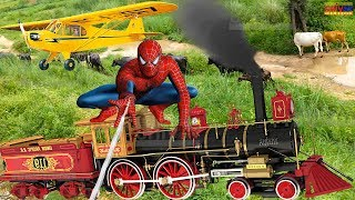 Train video for kids Toy train Helicopter for children Spiderman Train for kids  Shivay Childhood