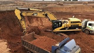 Cat 365C Excavator Loading Trucks With Three Passes