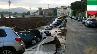 Sinkhole road collapse devours cars just 200 meters from Florence's Ponte Vecchio bridge - TomoNews
