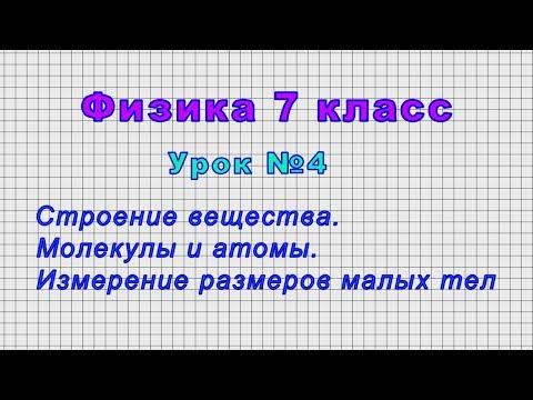 Физика 7 класс (Урок№4 - Строение вещества. Молекулы и атомы. Измерение размеров малых тел.)