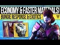 Destiny 2 | ECONOMY ISSUES & EXOTIC RARITY! Drop Rates, Faster Mods, Masterworks & Impressions!