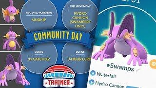 TOP 5 TIPS to MAXIMIZE SHINY MUDKIP COMMUNITY DAY + HYDRO CANNON SHINY SWAMPERT | POKEMON GO!
