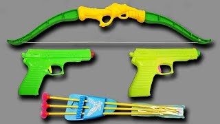 Colorful New Toy Bow and Arrows with 2 Colored Toys Guns – Box of Toys with Mini Toy Guns Video