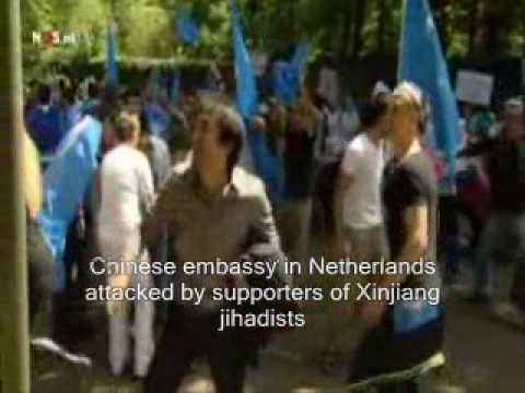 Uighur muslims attack Chinese embassy in Netherlands