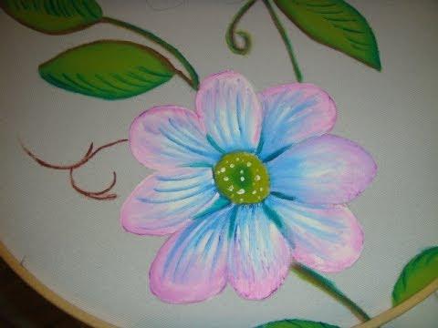 Pintura en tela flor rosa con azul marimur 464 youtube - Flores de telas hechas a mano ...