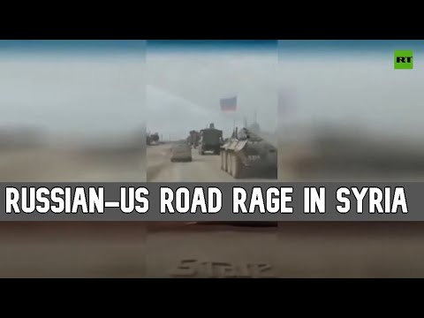 US armored vehicle runs Russian military jeep off Syrian road