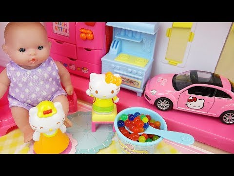 Hello Kitty and baby doll house toys play