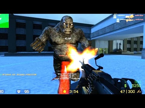 Counter Strike Source - Zombie mod Zombie Boss fight - Multiplayer Gameplay on Mental Hospital map