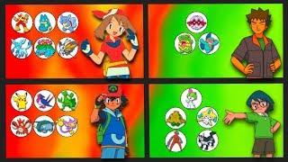 May, Brock and Max's Pokemon (Including Ash Ketchum)