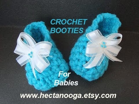 Crochet Patterns In Youtube : CROCHET PATTERN, LITTLE BLUE BABY BOOTIES - YouTube