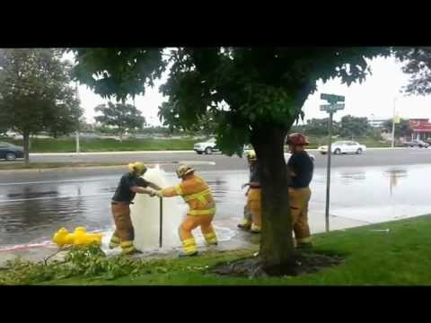 Orange County Fire Authority Truck 17 Take On Broken Fire Hydrant in Los Alamitos California