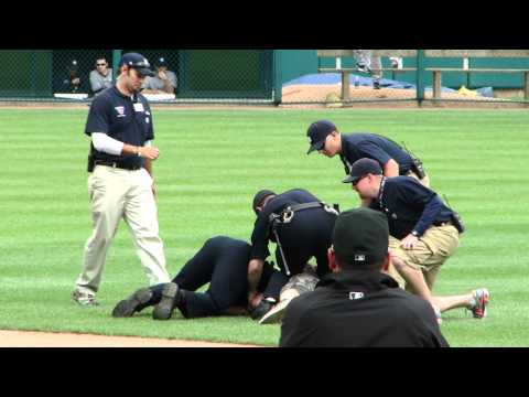 Fan Runs on Field and Fist Bumps Yankees Nick Swisher at Comerica Park