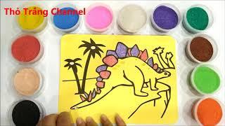 TÔ MÀU TRANH CÁT KHỦNG LONG - Colors Sand Painting Dinosaur (Thỏ Trắng)