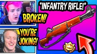 "STREAMERS *FIRST KILLS* With *NEW* ""INFANTRY"" RIFLE! *EPIC* Fortnite FUNNY & SAVAGE Moments"