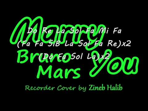 Marry You-Bruno Mars (Flute à Bec/Recorder Cover by Zineb Halib) Notes