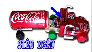 cách làm xe tải từ lon coca cola siêu ngầu