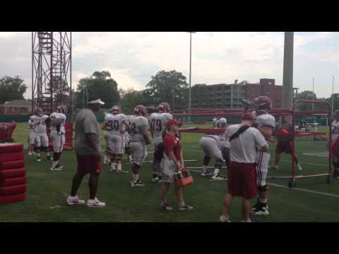 Hands on offensive line coaching at Alabama football practice
