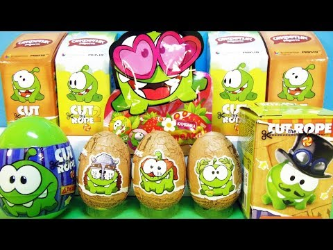 АМ НЯМ Mix! СЮРПРИЗЫ с игрушками Cut the rope Om Nom Sweet Box, Kinder Surprise eggs unboxing